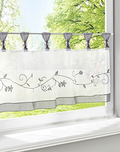 LivebyCare Floral Embroidered Window Curtain Tier and Valance Tab Top Rod Pocket Semi Sheer Window Treatment Voile Drape Drapery Panels for Kitchen Decor Decorative
