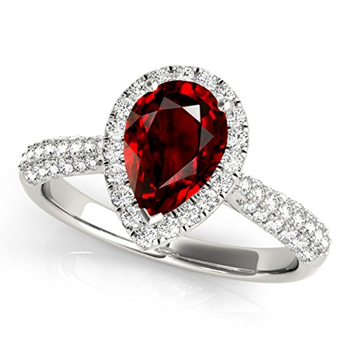 1.55 Ct. Ttw Diamond and Pear Shaped Garnet Ring in 10K White (Pear Shaped Garnet Ring)