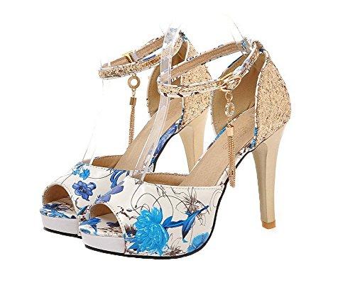 Sandali Colore Assortito Donna Azzurro Fibbia AgooLar Alto Sbirciare Tacco GMMLB008578 cdZ0wXdqnY