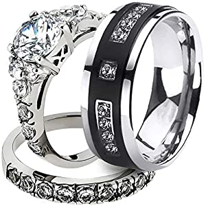 AONEW His & Hers Couples Engagement Wedding Bands Promise Ring Set Round CZ,Silver Black Size 9