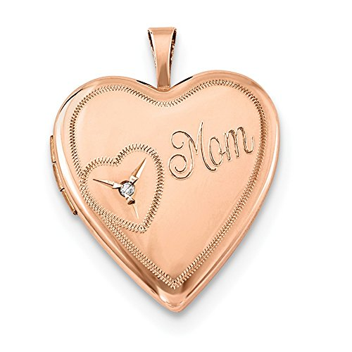 Sterling Silver Rose Gold-Toned 20mm Mom with Diamond Heart Locket