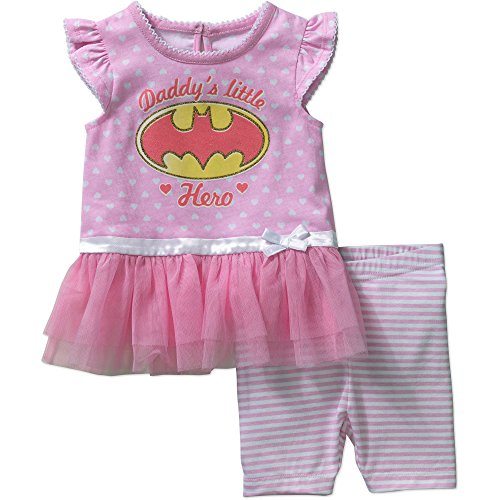 [DC Comics Batgirl Baby Girls' Skirted Top and Bike Shorts Outfit Set 6-9 Months] (Baby Batgirl Outfit)