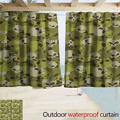 AndyTours Rod Pocket Top Blackout Curtains/Drapes,Camo Composition of Skulls Scary Head Skeletons Graphic Grunge Illustration,Outdoor Privacy Porch Curtains,W63x45L Inches,Green Pale Green Beige