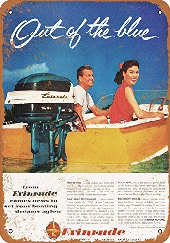NNBD Vintage Look Metal Sign - 1957 Evinrude Boat Motors 3 Wall Plaque Sign 8X12 Inch