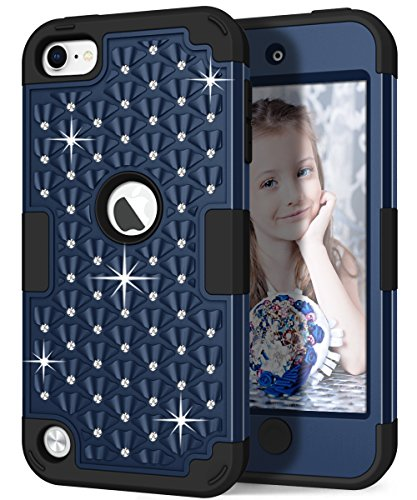 iPod touch Case, Hocase Sparkly Glitter Bling Rhinestone High Impact Silicone Rubber Bumper+Hard Back Cover Hybrid Protective Case for iPod touch 5th/6th Generation - Midnight Blue / Black (Ipod 5th Case Blue Touch Gen Girl)