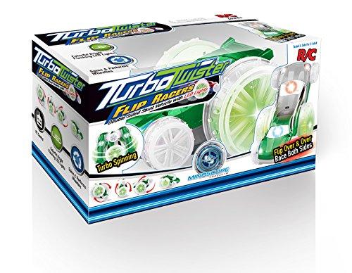 - Mindscope Turbo Twister Flip Racer Silver/Green Radio Control RC Light Up LED Stunt Action Vehicle 49 MHz