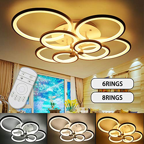 Modern LED Ceiling Lights Acrylic Circle Ring Chandelier Lighting Flush Mount LED Ceiling Light Fixture Lamp w/Remote Control for Dining Room Bathroom Bedroom Livingroom Decor (8 Head)