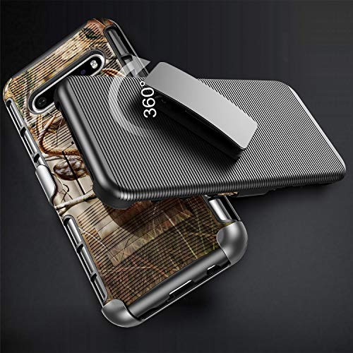 E-Began Phone Case for LG V60 ThinQ, LG V60 ThinQ 5G, Belt Clip Holster with Kickstand Protective Hybrid Cover Heavy Duty Armor Defender Shockproof Rugged Premium Case -Deer