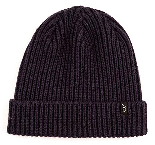 - MH-100-831 Mens Beanie Classic Warm Knit Hat Cuffed Skull Cap - Ribbed - Navy