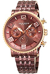 Akribos XXIV Men's Quartz Multi-Function Rose-Tone Accented Brown Sunray Dial on Brown Stainless Steel Bracelet Watch AK917BR