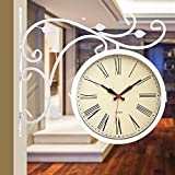 Vintage Mute Slientd Two-Sided Metal Wall Clock Large Art Decor Modern Mechanism For Kitchen, Living Room, Office For Kids,16 Inch,White