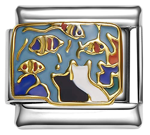 Stylysh Charms Cats Watching Fish Tank Enamel Italian 9mm Link CA003 ()