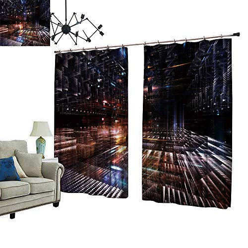 2 Panels Curtain with Hook City Series ARR gement Three Dimensional Structures Can Block Sunlight,W72 xL108 from PRUNUS