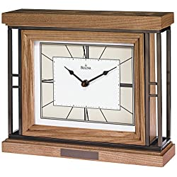 Bulova Legend Mantel Clock Wood Case Metal Framework Engraving Plate