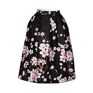 Hamrank Women's Flower Beach 3D Printed OL Sweet Pleated Midi Skirt Pink XL