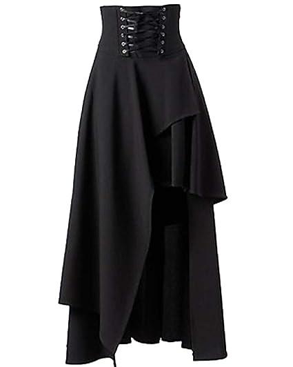 SaiDeng para Mujer Lolita Gótico del Vendaje De La Falda Maxi ...