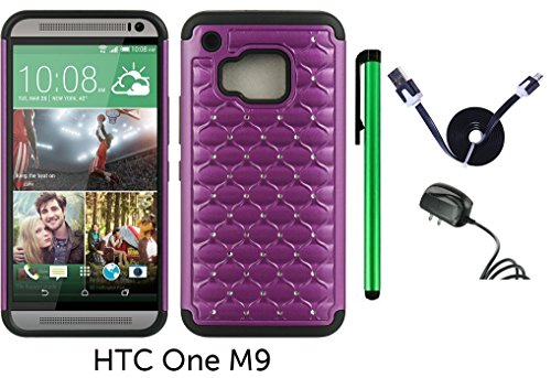 Leather Touch Htc Diamond - HTC One M9 (2015 HTC New Flagship Android Phone; US Carrier: Verizon Wireless, AT&T, Sprint, and T-Mobile) Hybrid Spot Diamond Phone Case - Premium Spot Diamond 2-layer Hybrid Protector Cover Case + Travel (Wall) Charger + 1 of 1M/3Feet Stylish Micro USB To USB 2.0 Data Sync Charger Flat Cable + 1 of New Metal Stylus Touch Screen Pen (PURPLE)