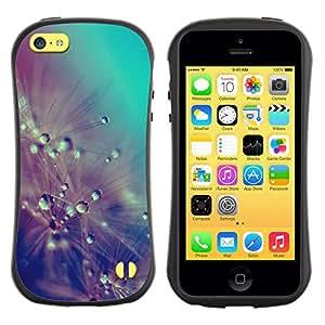 Suave TPU GEL Carcasa Funda Silicona Blando Estuche Caso de protección (para) Apple Iphone 5C / CECELL Phone case / / Drops Rain Pastel Teal Flowers /