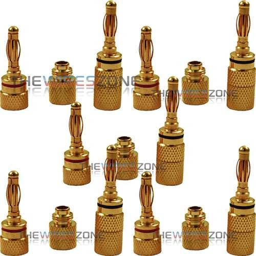 24K Gold Plated Audio Banana Plug Audio Speaker Wire Jack Connector (10/Pack)