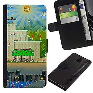 NEECELL GIFT forCITY // Billetera de cuero Caso Cubierta de protección Carcasa / Leather Wallet Case for Samsung Galaxy Note 3 III // Nivel de juego