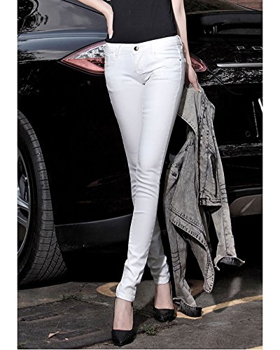 Femme pour Denim Mode Jeans Pantalon Leggings Jeans Blanc Fille Pantalons Casual 8Znxwg