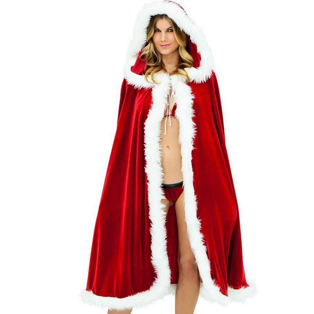 AMUSTER Intimo Aperto Lingerie Seta Vestaglia Natale Donne Felpa Mantello Cappuccio Costume Festa Club Cappotto