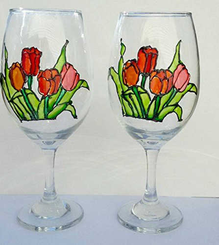 Tulips Flowers Hand Painted Stemmed Wine Glasses 20 oz (Set of 2) Floral Kitchen Decor