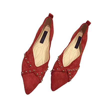 322490ae8672b Amazon.com: August Jim Red Flats Shoes Women Classic Pointy Toe ...