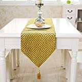 ROGEWIN Table Runner No Fade Reusable European Style Jacquard with Tassels Bed Mats Modern Party Home Decoration