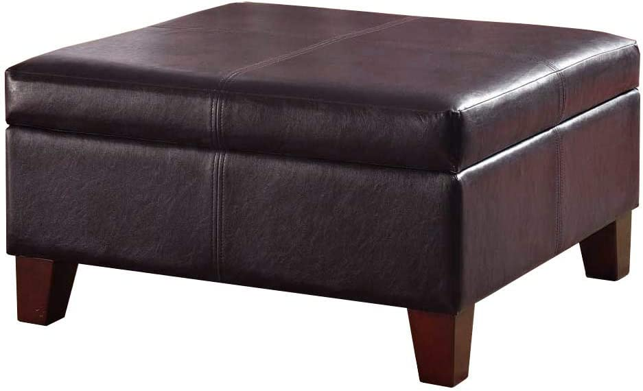 Kinfine Bonded Leather Square Storage Ottoman Coffee Table With
