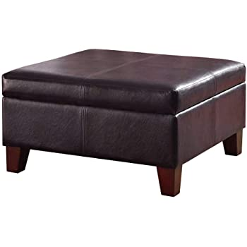 HomePop Bonded Leather Square Storage Ottoman Coffee Table With Wood Legs,  Brown