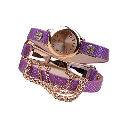 Jewelry And Watch - Casual Women Rhinestone Chain Leather Band Wrist Watch - - Of Shape Face Determine