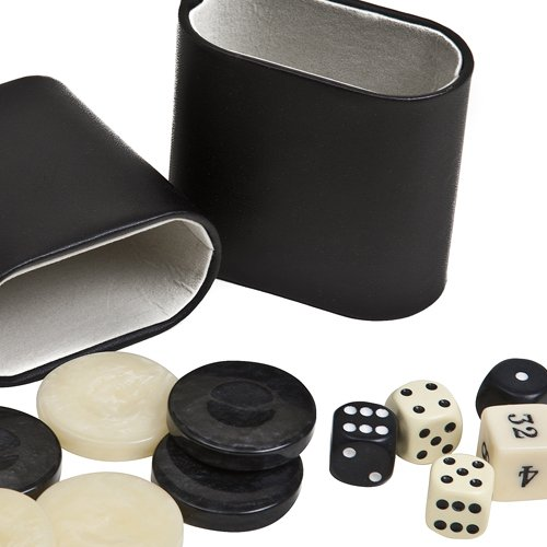 Venus Deluxe Marbleized Pearl Type Backgammon Checkers from Greece, Dice & Two Genuine Leather Dice Cups -Black/Ivory 1 7/16