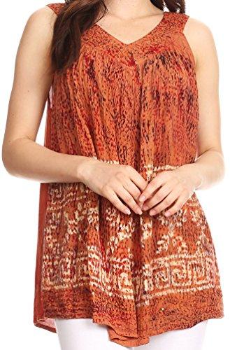 Sakkas S-4-85683 - Badalea Long Embroidered Sequin Beaded Batik Shirt Printed Tank Top Blouse - Dark Camel - OS ()