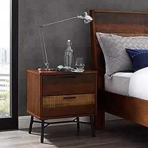 Modway Arwen Rustic Modern Wood 2-Drawer Bedroom Nightstand In Walnut