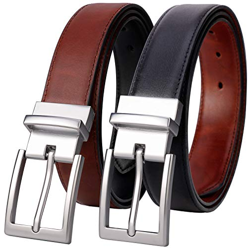 (Belts for Men - Lavemi Mens Reversible Italian Cowhide Leather Dress Belt,One Belt Reverse for 2 Colors (21863-2)