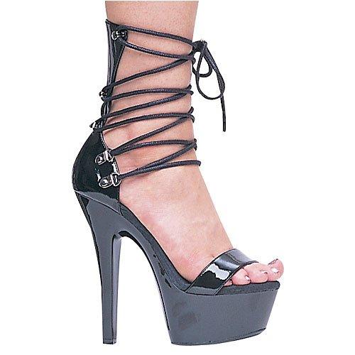 Ellie Shoes Women's 6 inch Heel Wrap up Sandal (Black;12)