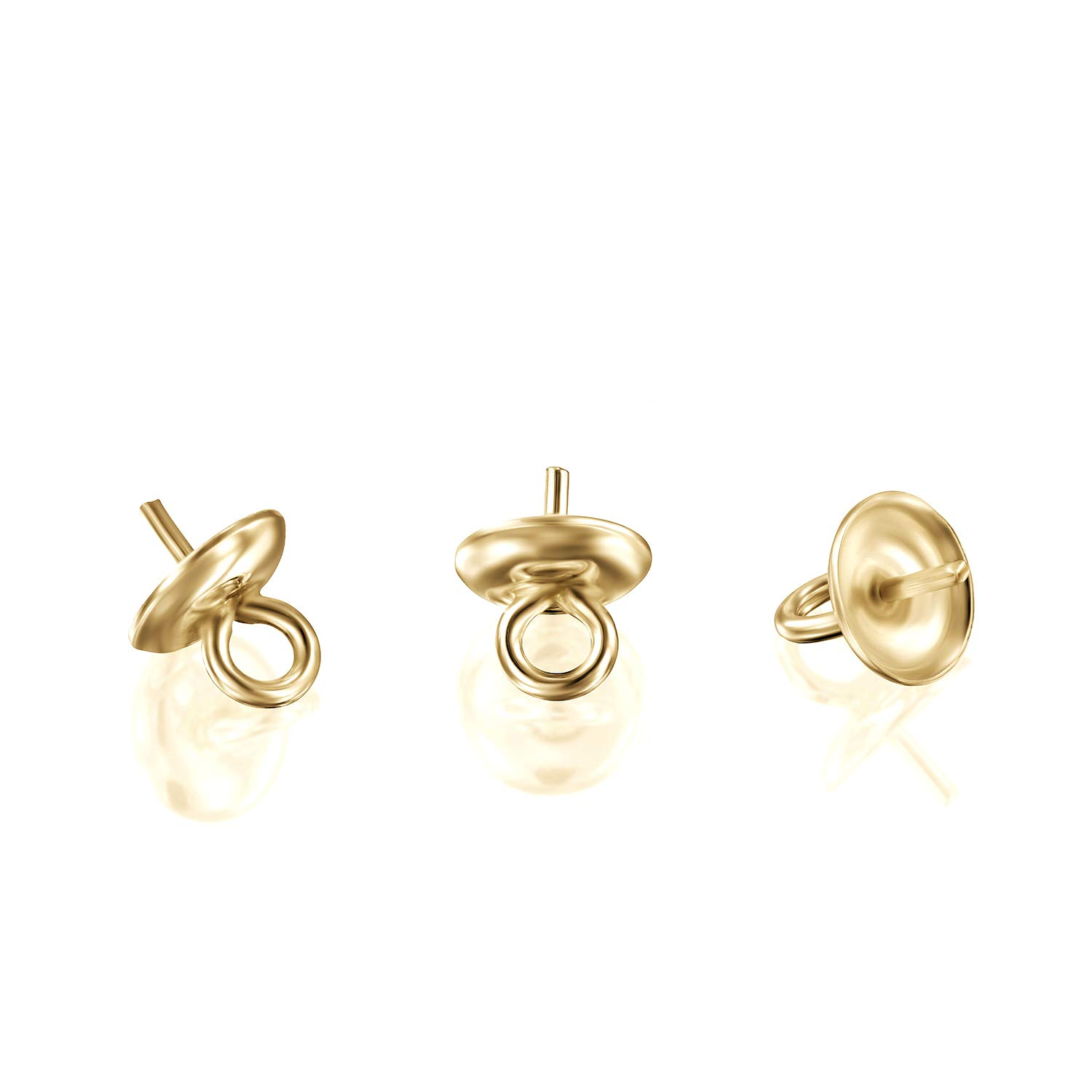 4 Pcs 14k Gold-Filled 5mm Peg Bail Eye Pin Cap for Half Drilled Pearls or Stones
