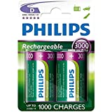 Philips D Size 3000 mAh Rechargeable Batteries LR20 x 2