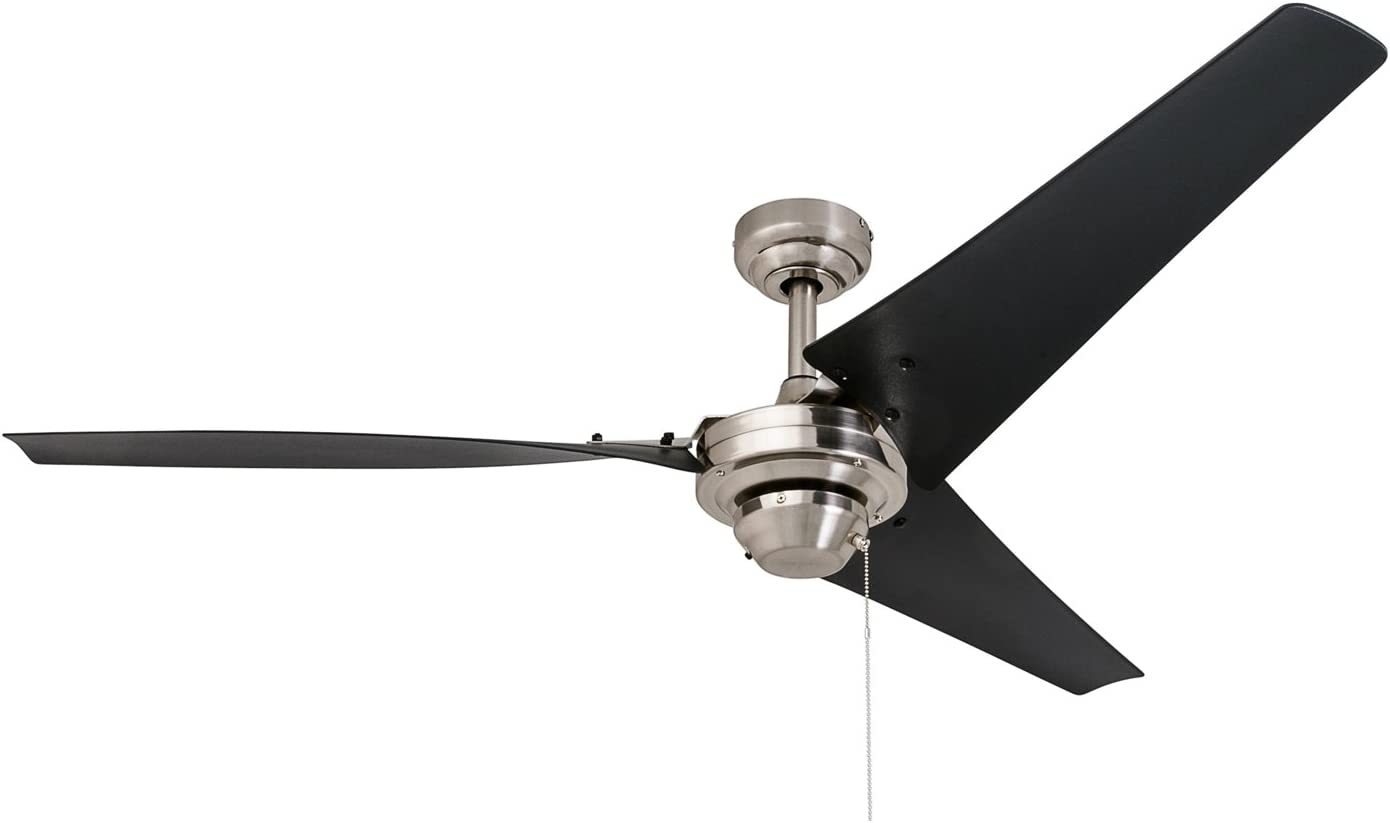 Prominence Home 50330 Industrial Ceiling Fan, Almadale 56 Energy Efficient Black Matte Blades, Easy Install System, Brushed Nickel