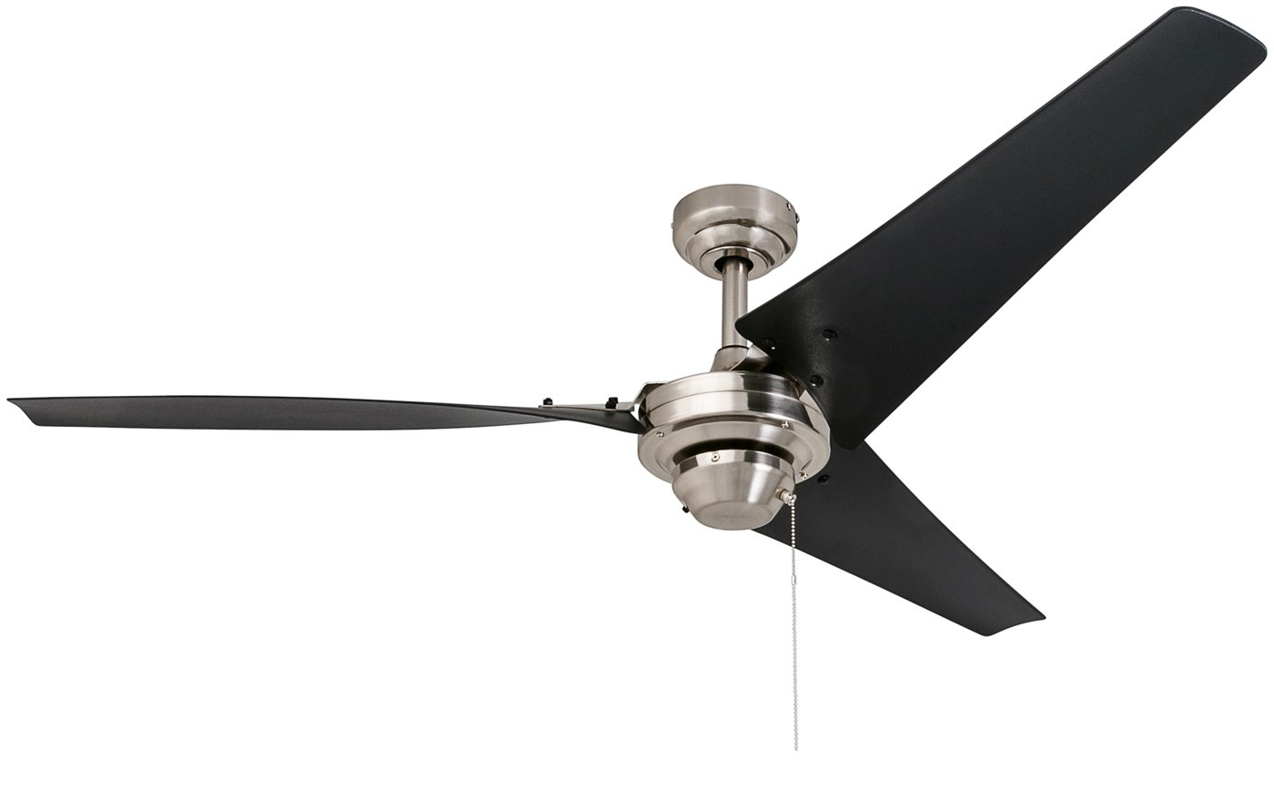 Prominence Home 50330 Almadale Industrial Ceiling Fan, 56 inches, Energy Efficient Black Matte Blades, Brushed Nickel