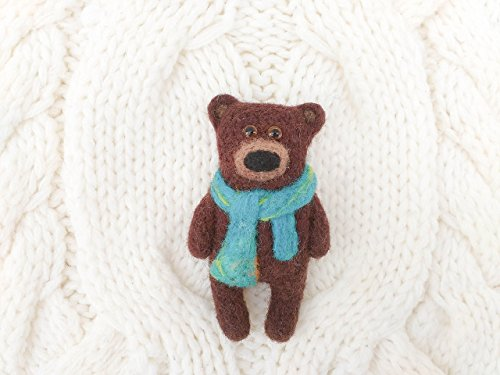 Needle Felted Bear (Grizzly bear brooch, Needle felted bear jewelry)