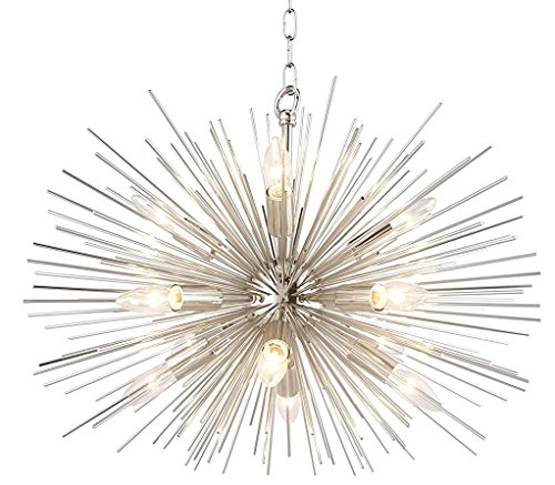 - Decomust 24 inch Astra Sputnik Satellite Pendant Light Urchin Chandelier Plated Nickel Ceiling Light Fixture