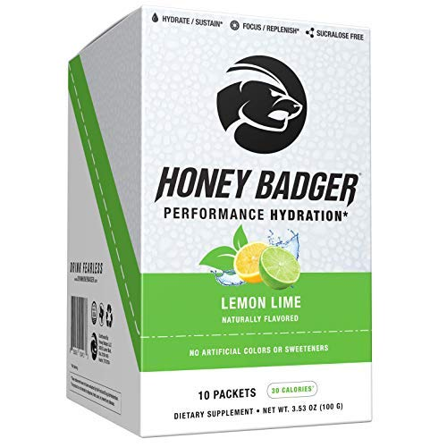 Honey Badger Performance Hydration Natural Post Workout Caffeine Free (Lemon Lime, 10 Packets, Beets, Sucralose Free, Naturally Flavored & Sweetened, No Dyes, Amino Acids, Vegan, AlphaSize Alpha-GPC)