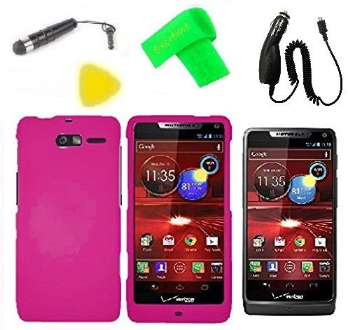 Phone Cover Case Cell Phone Accessory + Car Charger + Extreme Band + Stylus Pen + LCD Screen Protector + Yellow Pry Tool For Verizon Motorola Moto Luge 4G LTE (Car Charger + Pink)