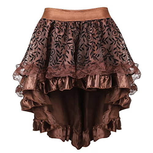 Women's Steampunk Lace Brown Skirts Vintage Satin High Low Corset Skirt 6X -