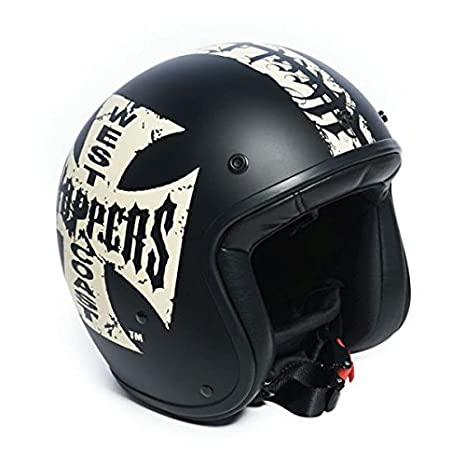 Amazon.es: Casco Jet West Coast Chopper WCC gangscript Negro homologado XS Negro