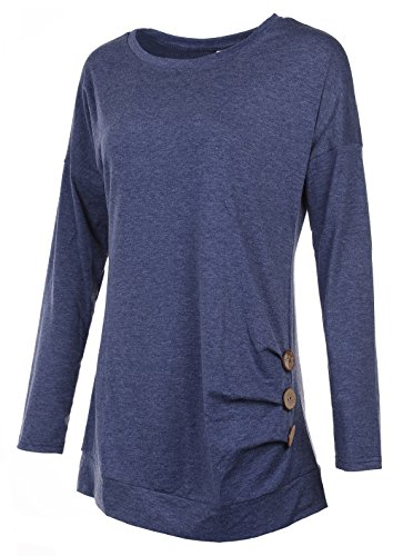 Womens Comfy Loose Fit Tunic Top Full Sleeve Shirt Navy XL