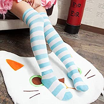 COSPROFE Japanese Womens Over Knee Striped Socks Thigh High Long Casual Tube Cosplay Stockings