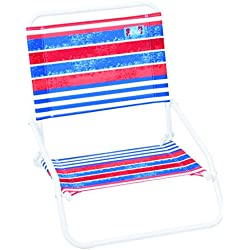 RIO Beach Wave 1-Position Beach Folding Sand Chair - Red, White, Blue Stripes